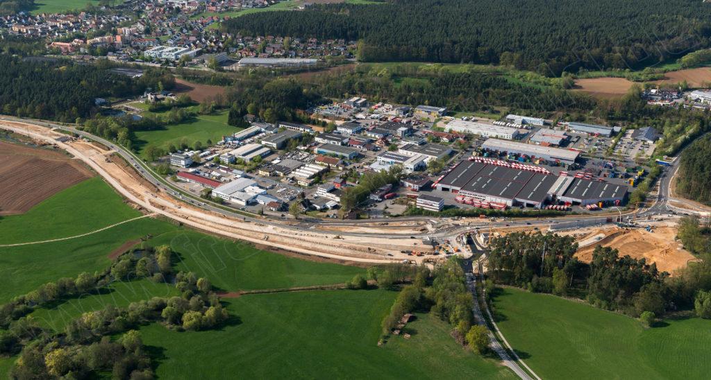 Luftbild vom B14-Umbau in Ottensoos
